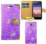 Huawei Ascend Y550 Hülle, FoneExpert® Bling Luxus Diamant Hülle Wallet Hülle Cover Hüllen Etui Ledertasche Premium Lederhülle Schutzhülle für Huawei Ascend Y550 + Bildschirmschutzfolie (Lila)