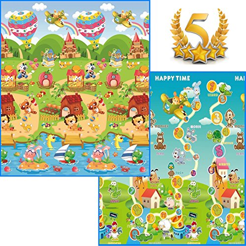 GLOBOLANDIA 92716 Tappeto Bambini Double Face 180 x 150 Ripiegabile con Sacca Omaggio Inclusa Maxi Animali novità