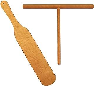Crepe Spridare & spatelset - 30 cm crepe-spatel [17,78 cm spridarpinn] handgjord naturlig bokträspridare träspatel svarvar...