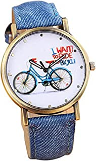 Womens Bicycle Watch,POTO JY-15 2017 New Bicycle Pattern Bike Denim Analog Quartz Watch
