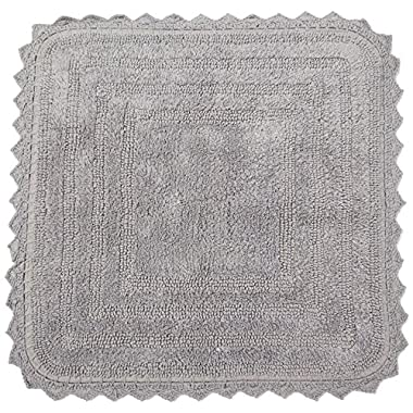 DII Ultra Soft Spa Cotton Crochet Square Bath Mat or Rug Place in Front of Shower, Vanity, Bath Tub, Sink, and Toilet, 24  - Gray