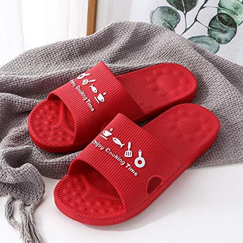 B/H Mujeres Zapatos de Piscina Chanclas de Playa,Verano Antideslizante Sandalias de Fondo Suave, Zapatillas de baño-Scarlet 2_37-38
