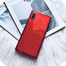 U-see Square Case for iPhone Xs Max Xr X Transparent Soft TPU Cover Case for iPhone 8 7 Plus Accessory,Red,for iPhone 7 8 Plus