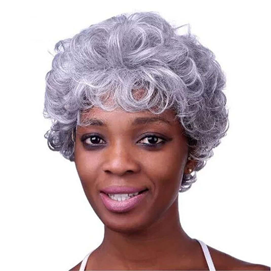 別に汚すオプショナルKerwinner 本物の髪として女性のための前髪天然合成フルウィッグと白人女性ストレートグレーの髪のかつらをショートウィッグ