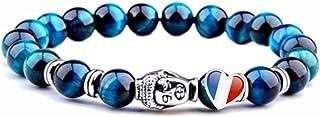 ARMONY PARIS Bracelet Protection Pierre Naturelle Perle Semi précieuse Perle 8 mm Homme Femme Oeil de Tigre Bleu Rouge Jau...