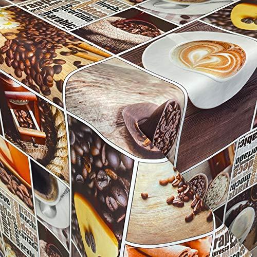 KEVKUS Wasdoek tafelkleed 01065-00 koffie Barista koffiemolen keuken vierkant rond ovaal (rand: paspel (met kunststof band), 140 x 340 cm vierkant)
