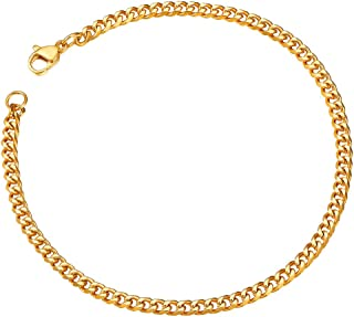 Gold Bracelets for Men 3mm Gold Plated Cuban Link Chains Bangle Valentines Father's Gifts for Husband