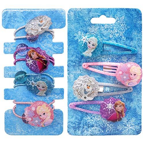 Haarspange Eiskönigin YUESEN 8PCS Haarspangen Haarring Haarschmuck für Kinder Eiskönigin Frozen Schmuckset für Kinder Exquisite Cartoon Schleife für Geburtstag Geschenk für Mädchen