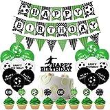 Hongfa Partyset, Fußball Geburtstag Dekorationen Happy Birthday Girlande mit Luftballons für Kinder Jungen Geburtstag Party