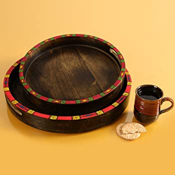ExclusiveLane Madhubani Handpainted Wonder-in Circles Decorative Wooden Tray Set Breakfast Coffee Tea Trays Serving Trays for Snacks (Set of 2, Brown)