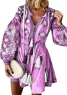 Macondoo Women Casual V-Neck Long-Sleeve Print Bohemian Loose Dresses