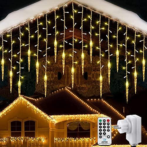 Geemoo Eiszapfen Lichterkette Außen, 9M 360 LED Eisregen Lichtervorhang Weihnachtsbeleuchtung, 8 Modi, Timer, Dimmbar Lichterkette mit Fernbedienung, Weihnachts Deko, Balkon (Warmweiß)