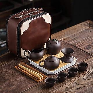 Clay teapot, Tea Set, Kungfu Tea, Handmade Purple Sand, Oriental Portable Gift Set, Household Travel Bag-Red A