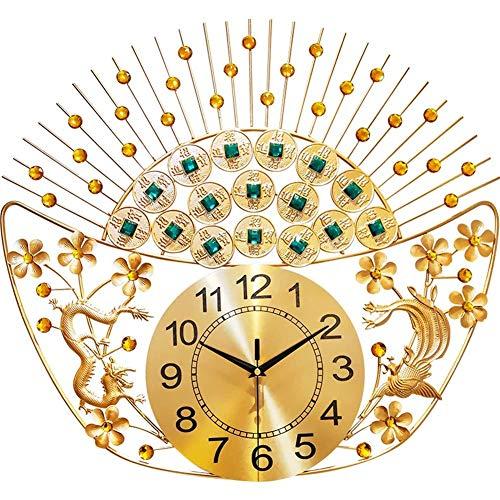 GHJA Reloj de Pared de Pepita de Color Dorado Antiguo Chino Sala de Estar Relojes atmosféricos de Estilo Chino Cuadros de Pared de Moda para el hogar Personalidad muda Reloj de Cuarzo Decorativo
