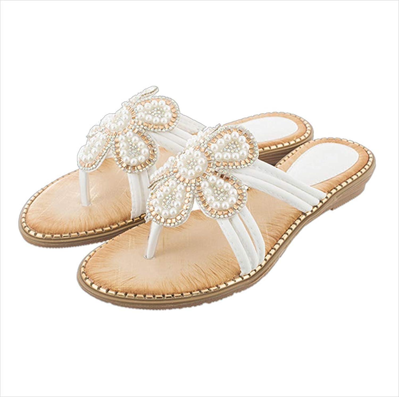 Mobnau Womens Jeweled Floral Thong Beaded Sandals Flip Flops