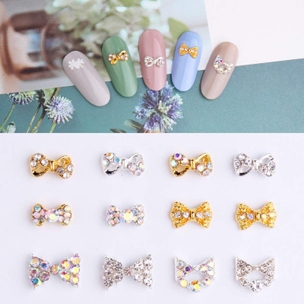 Nail Decration Alloy Diamond OFFicial Pearl Bow N Tie Metal Ornament Al sold out.