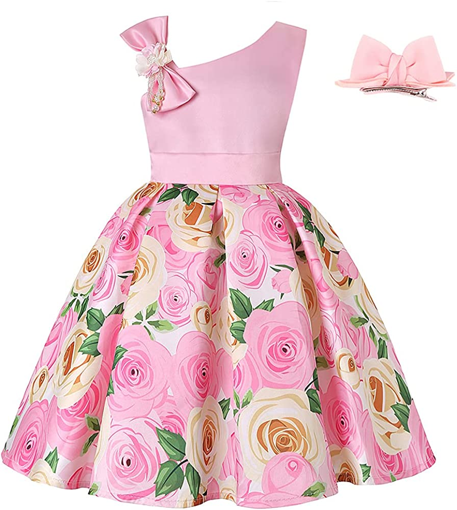 Girls Pageant Lace Flower Dress Bowknot Tutu Formal Dresses Wedding Dance Gown