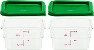 Cambro Set of 2 Clear Square Food Storage Containers with Lids, 2 Quart (2 quart, set of 2)