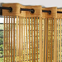 Story at Home Fancy Sparkling Door Window Beautiful Sheer Strip Polyester Set of 2 String Beads Hanging Net Curtain - 7ft, Gold