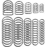 SENHAI 50 Stück Sortiert Splitter-O-Ring & 20 Stück Mehrzweck Metall D Ring zum Hardware Kunst...