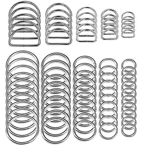 SENHAI 50 Stück Sortiert Splitter-O-Ring & 20 Stück Mehrzweck Metall D Ring zum Hardware Kunst Nähprojekte Handgemachte DIY Zubehör
