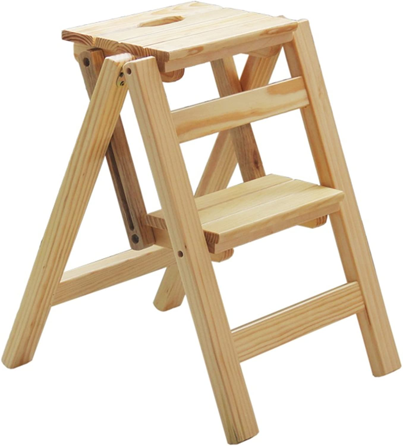 Hai Yan Portable Step Stool Solid Wood Household Ladder - Multi-Function Folding Ladder, Indoor Climbing Wooden Ladder Rack Height 66cm (26.4 Inches) (color   B, Size   47cm)