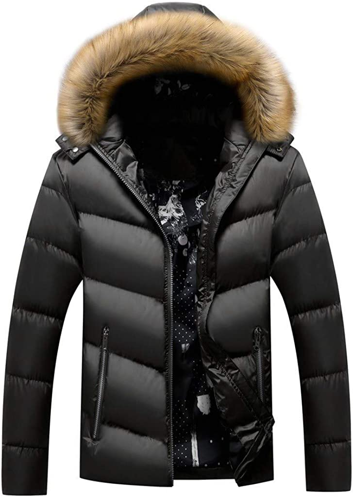 WUAI-Men Winter Coat At the price of surprise Faux San Jose Mall Fur Hooded J Parka Thicken Warm Puffer