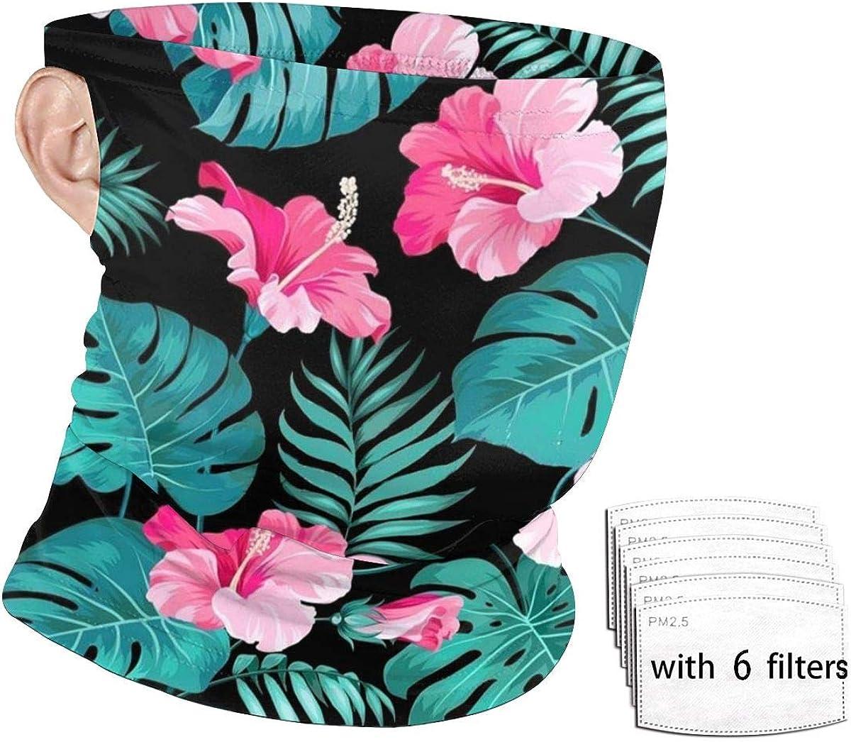 Face Scarf Mask Men/Women Hawaii Pink Flower Face Mask Neck Gaiter Ear Loops Bandana for Dust Outdoors Sports