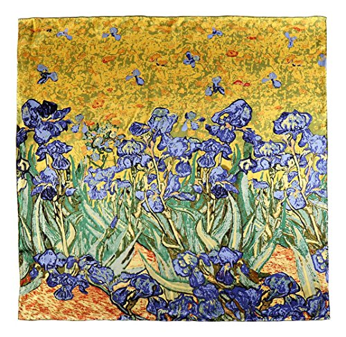 Large Square Silk Scarf Classic Art Print (Blue Lily by Van Gogh)