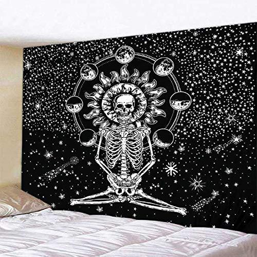 KHKJ Tapiz de Yoga de Calavera, Almohadilla para Dormir de Viaje, Tela de poliéster, Tapiz para Colgar en la Pared con Estampado de Esqueleto, A2 200x150cm