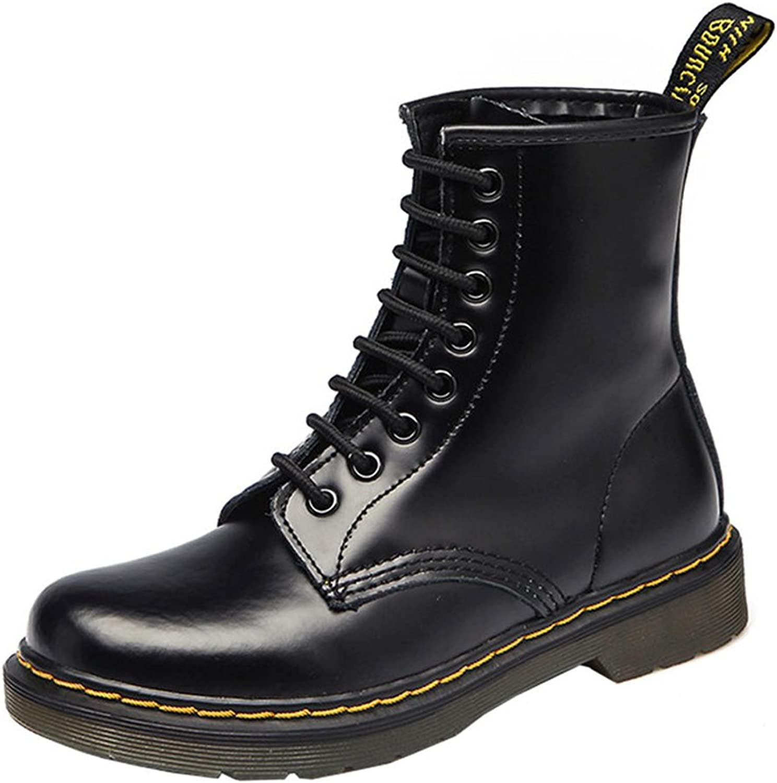VOCOSI Women's 608 Retro Cap-Toe Low Heels Ladies Leather Ankle Combat Boots