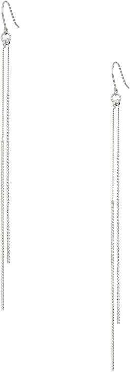 Kenneth Jay Lane - Silver Chain and Double Bar Drop Fishhook Earrings