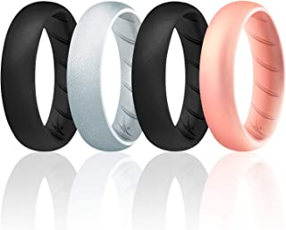 ROQ Silicone Rings for Women Breathable Silicone Rings Bands - Comfort Fit Silicone Wedding Ring for Women - Black, Silve...