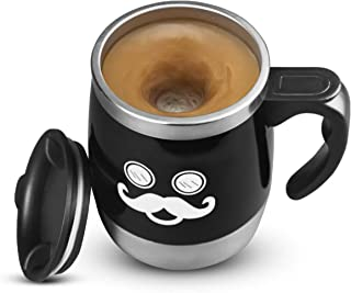 LEADNOVO Self Stirring Coffee Mug Electric Stir Stainless Steel Automatic Self Mixing Cup for Morning Office Travelling 450ml/15.2oz (Black)