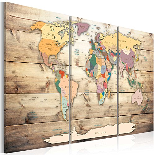 artgeist Pinboard World Map 35.4' x 23.62' Cork Board & Canvas Print Wall Art 3 pcs Memoboard with 50 Pins Noticeboard Message Board Image Picture Home Decor Travel Map Map of The World k-C-0035-p-f