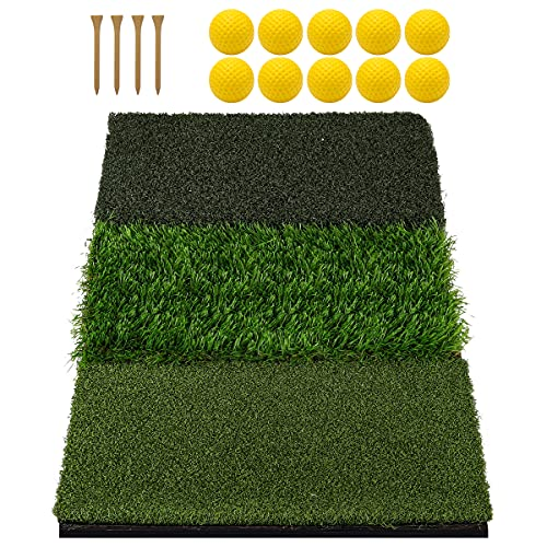 Keenstone Tri-Turf Golf Hitting Mat, Portable Golf Grass Mat for Driving, Chipping Practice Training with Adjustable Tees and Foam Practice...