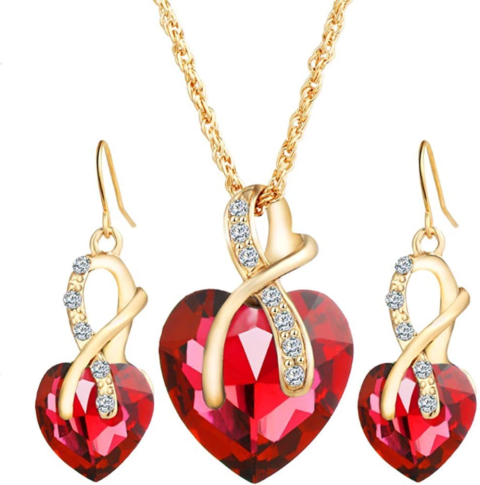 Fashion Love Heart and Faux Pearl Crystal Jewelry Set Gold Plated Water Drop Pendant Necklace and Stud Post Dangle Earrings for Women Ladies Gifts