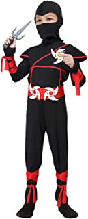 ThinkMax Boys Ninja Costume for Kids Halloween Dress Up Party with Ninja Foam Accessories Toys, Toddler 3-4 Years Black