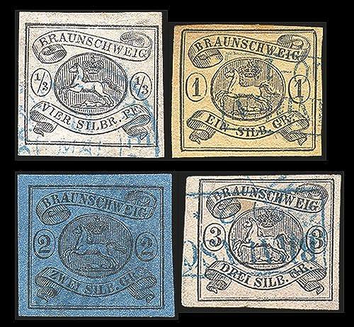 Goldhahn BraunschWeiß Nr. 5-8 gestempelt geprüft - Briefmarken für Sammler
