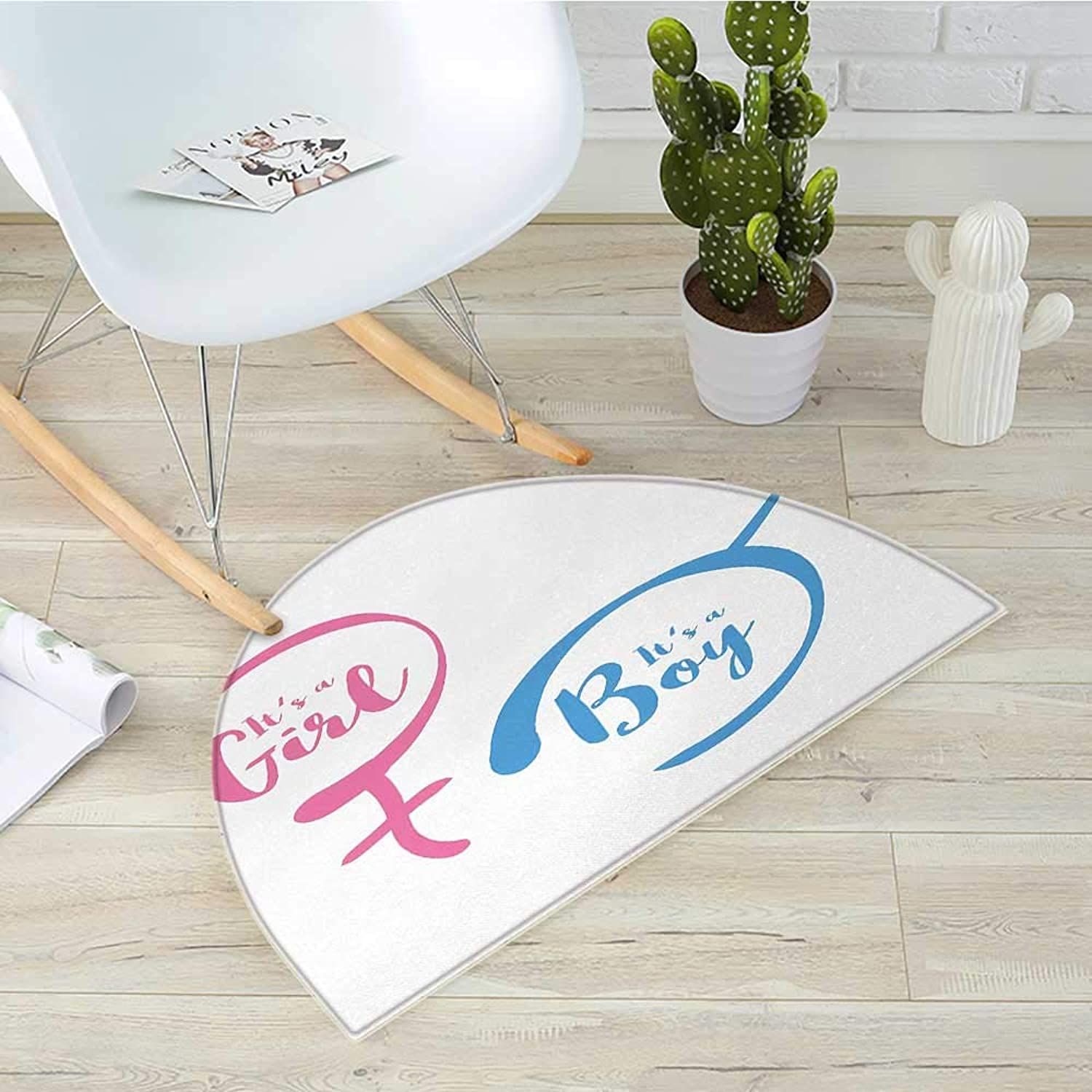 Gender Reveal Semicircular CushionText with Boy and Girl Gender Sign Simplistic Announcement Print Entry Door Mat H 35.4  xD 53.1  Pale Pink and bluee