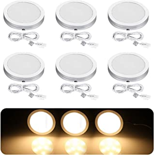 B-right Under Cabinet Lighting, 9 LED Puck Lights Hard Wired Lighting, 12V Plug in UL Adapter 1020lm Under Counter Lights with Enough Brightnes, Stick on Light Soft Warm White 3000K, Pack of 6