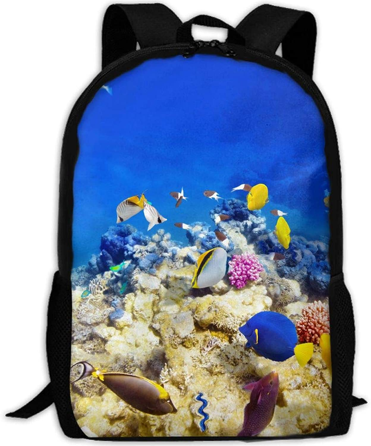 91d247f2d6f8 Adult Backpack Fishes College Daypack Oxford Bag Unisex Travel ...