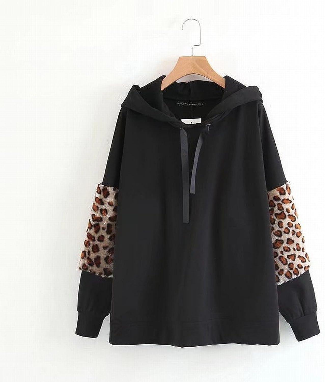 Stts Damen Kapuzenpulli Frühen Frühling Leoparden Dekorative Frauen 'S Shirt,Schwarz,L B07FQP4LSG  Schönes Aussehen