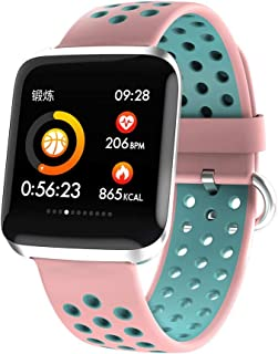 GLJJQMY Sports Watch Ip68 Fitness Tracker Activity with Pedometer Heart Rate Monitor Multiple Sports Mode Step Calorie Distance Tracker Waterproof Call SMS SNS Reminder Smart Bracelet (Color : Pink)