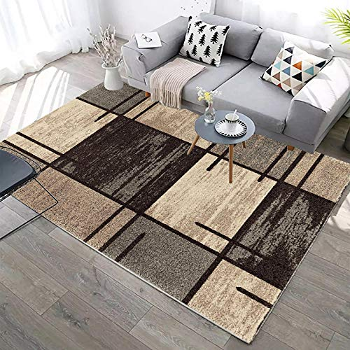 """YCMXMY Rug Polyester Collection Area Rug and Custom, Rugs for Bedrooms Brown Square Stain Resistant & Easy to Clean,Beautiful Border Rug 200X300Cm(6Ft 5"""" X 9Ft 8"""")"""