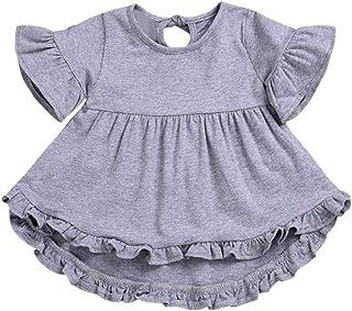 Yeach 子供服 女の子 90-130 1-5歳 子供 ベルスリーブ 半袖 無地 不規則なスカート スカート ドレス 姫様 普段着 写真 人気 誕生日プレゼント