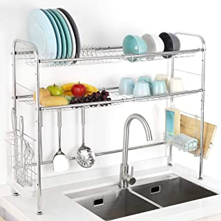 Dish Drying Rack Over the Sink Stainless Steel 2 Tier Length Adjustable Dish Rack Counter Organizer Drainer Shelf for Kitchen Storage Counter Organizer