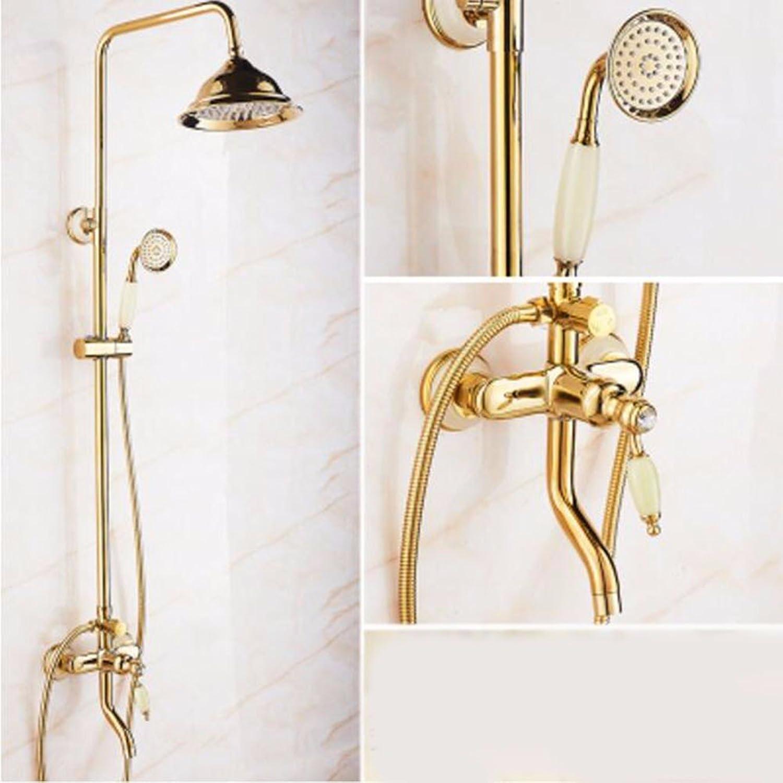 Shower set golden Natural Jade Shower Set European Style All Copper gold-Plated Hot And Cold Faucet Antique Bathroom Lift Shower,B