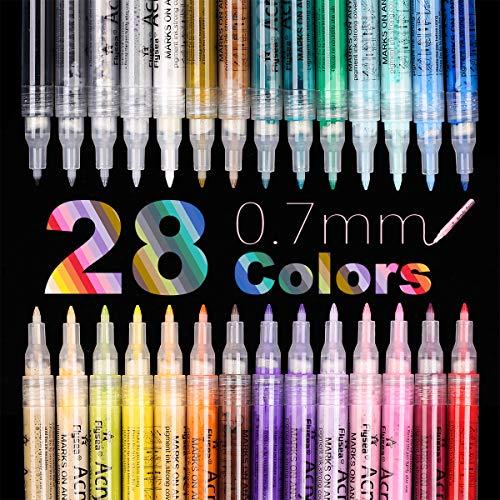 EKKONG Acrylstifte Marker Stifte 0.7mm Feine Spitze, 28 Farben Marker Wasserfeste Stifte für Holz, Steine, Leinwand, Metall, Kunststoff, Keramik, Glasmalerei, Stoffmalerei,...