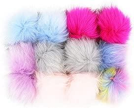 Key Chains - Furling 12pcs Pom Poms DIY Wholesale 10cm Soft Faux Fox Fur Pom Pom Ball for Knitting Hat Accessories Keychain Accessory - by Mct12-1 PCs